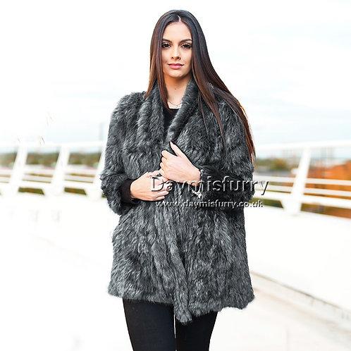 DMGA139B Knitted Rabbit Fur Jacket Coat