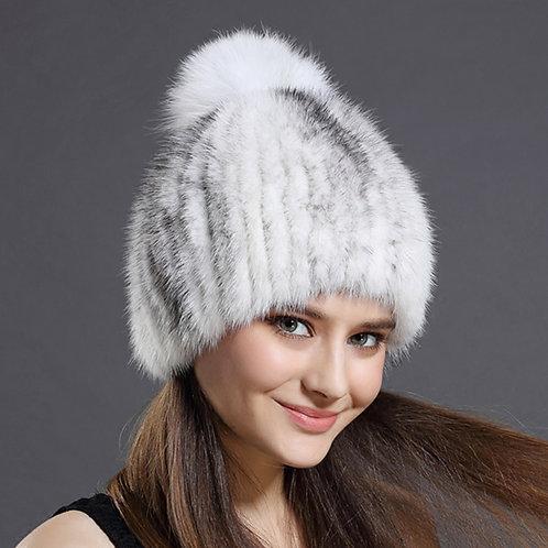 DMC164A Cross Mink Fur Beanie Hat With White Fox Fur Pom Pom