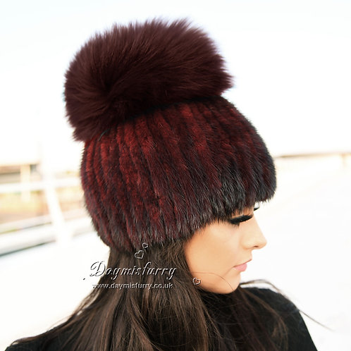 DMC16M  Mink Fur Hat Cap With Fox Pom Pom