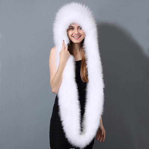 DMC87A White Fox Fur Hat for Winter  / Fur hood