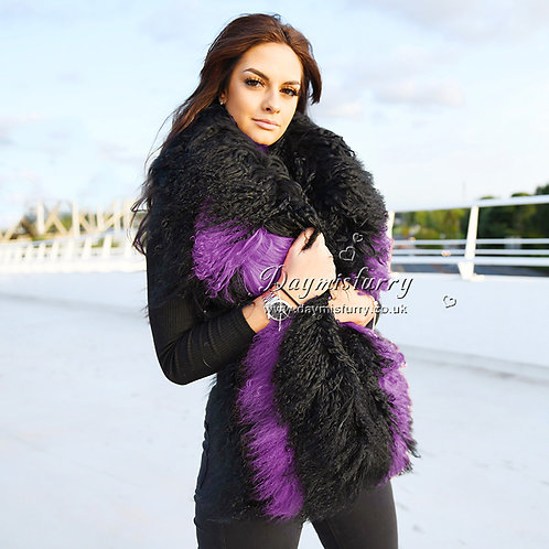 DMS178F Black And Purple Mongolian Lamb Fur Cape