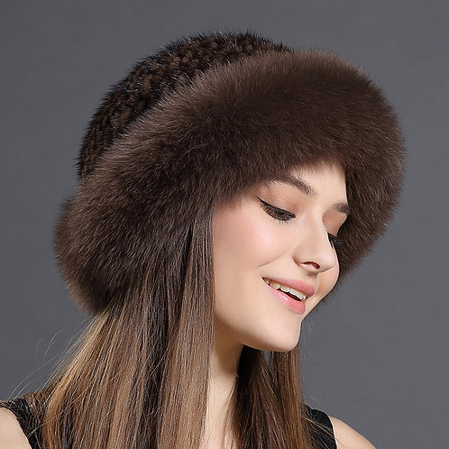 DMC209F  Fox Fur Roller Hat with Mink Top