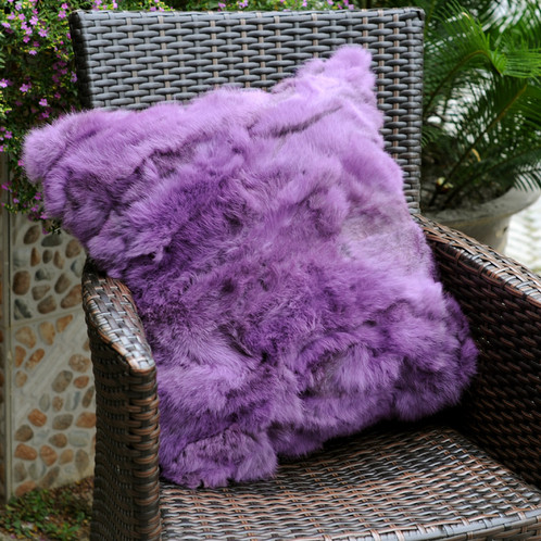 DMD40E Pieced Rabbit Fur Pillow Cover In Lilac Best Rabbit Fur Pillow Cover