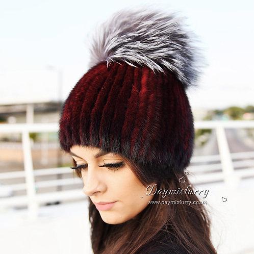 DMC16K  Mink Fur Beanie Hat Cap With Fox Pom Pom