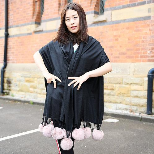 DMBP31B Black Cashmere-like Scarf  With Pink  Fox Fur Pom Pom