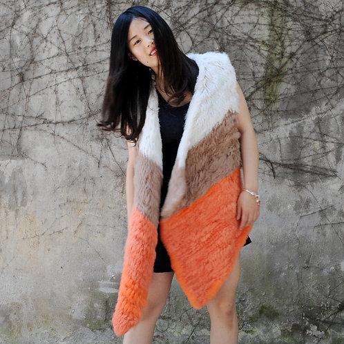DMGB90 Knit Rabbit Fur Color Block Vst