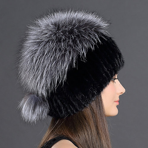 DMC35A Knit Mink Fur Ha Hat With Silver Fox Fur Top