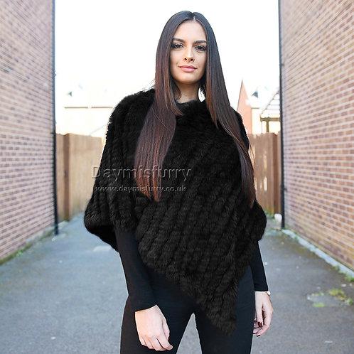 DMB13A  Knit Black Rabbit Fur Shawl / Fur Cape