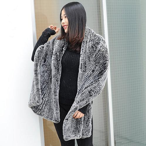 DMB72 Knitted Rex Rabbit Fur Shawl - Black Frost