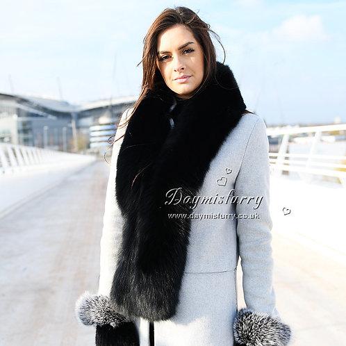 DMA98 Large Black Fox Fur  Collar Scarf