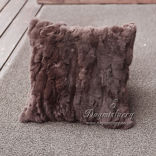 DMD27J Pieced Rex Rabbit Fur Cushion Cover