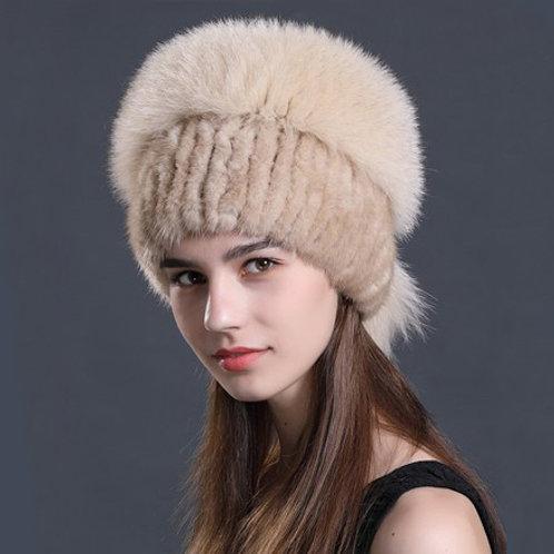 DMC57F Beige Mink Fur Hat With Fox Fur Top
