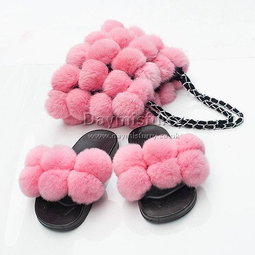 DMA118C  Rabbit Fur Pom Poms Slipper & Fur Hand Bag Set