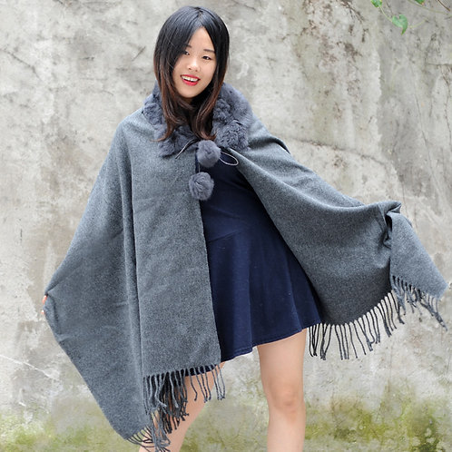 DMBP34B Grey Cashmere Cape with Rabbit Fur Collar