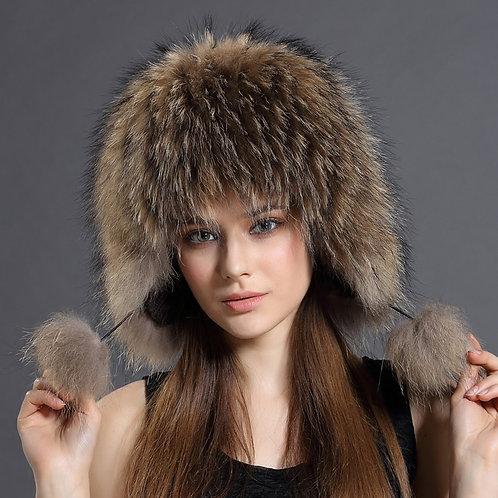 DMC114 Luxury Raccoon Full Fur Russian Hat