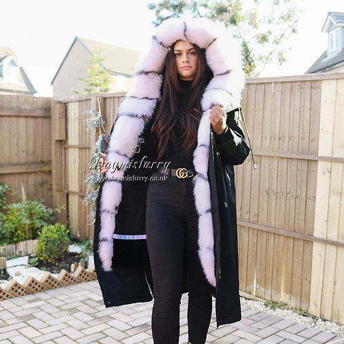 DMGP33 Rabbit Fur Lined Parka Jacket With White Fox Fur Trim