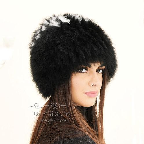DMC215C  Knit Finn Black  Fox Fur Hat