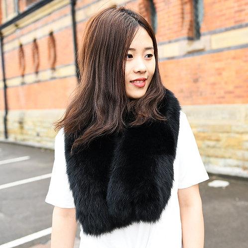 DMS81A Large Detachable  Fox Fur Collar In Black