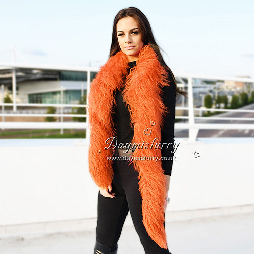 DMS108H Mongolia Lamb Fur Scarf in Orange