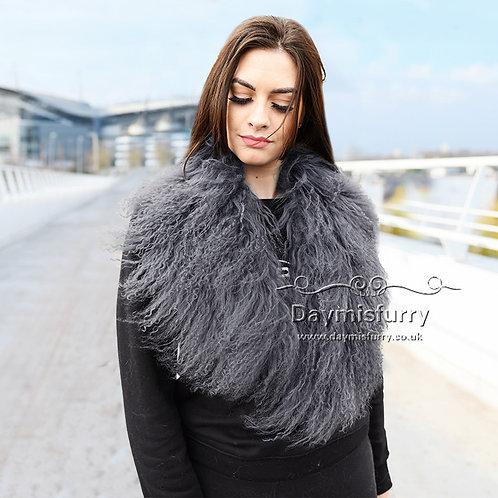 DAA52M Detachable Mongolia Lamb Fur Scarf Fur Collar