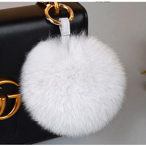 DMAR32E Fox Fur Pom Pom Bag Charm - Natural White
