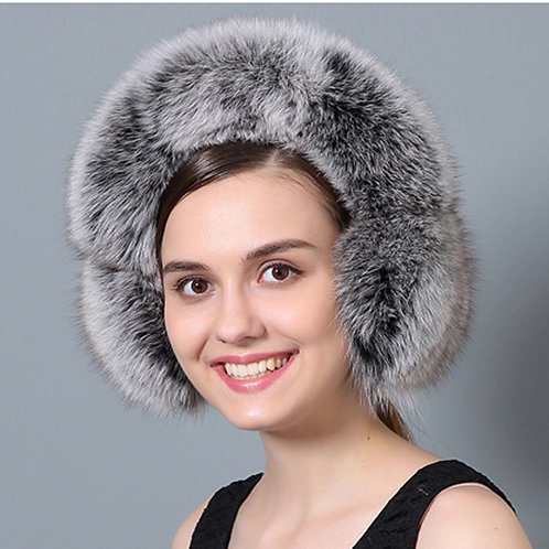 DMA72E Fox Fur Earmuffs With Matching Fur Band