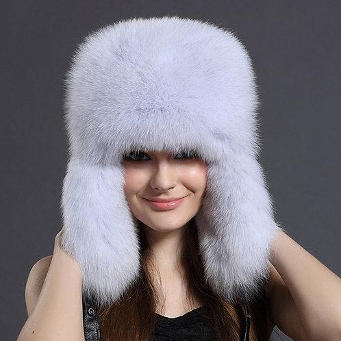 DMC47E Blue Fox Fur Trapper Hat