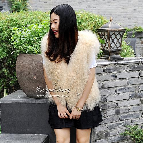 DMGB191F Mongolia Lamb Fur Vest In Beige