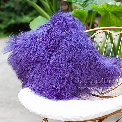DMD04G Amaranth Mongolian lamb Fur Pillow Case