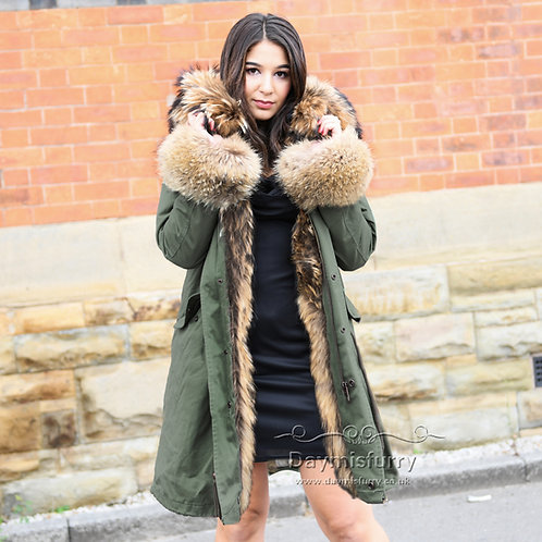 DMGP38B Rabbit Fur Lined Parka Jacket With Raccoon Fur Trim and Cuff