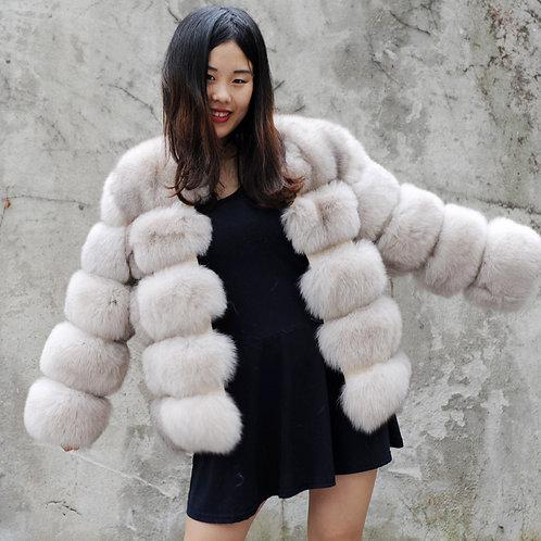 DMGA245C Finn Beige Fox Fur Horizontal Design Coat