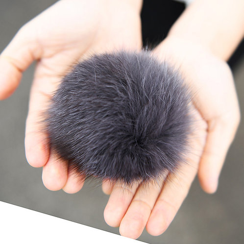 Fox Fur Pom Pom Brooch Pin / Toque Pin