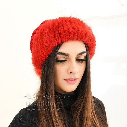 DMC249A  Wool Knit Hat  With  Fox Fur Ball and Mink Fur Trim, Christmas Hat