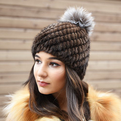 DMC206B Knit Mink Fur Beanie With Silver Fox Fur Pom