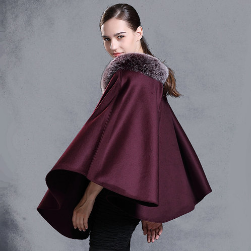 DMBP55B Wool Poncho With Fox Fur Trim