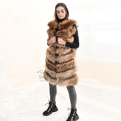 DMGB154A  Raccoon Fur Horizontal Design Fur Gilet