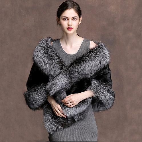 DMBM05C Black Mink Fur Cape with Silver Fox Fur Trim