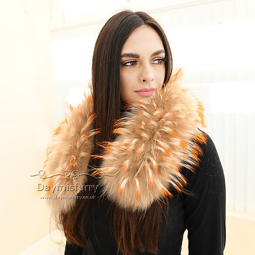 DMA102D Raccoon Fur Collar / Raccoon Fur Trim Hood / Parka Collar