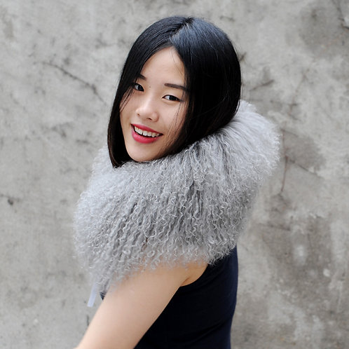 DMA16C Dyed Light Grey Mongolian Lamb Fur Collar