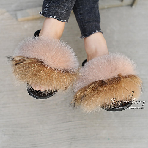 DMA82W Fox Fur Slides - Autumn Leaf