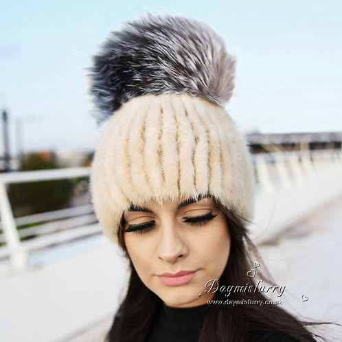 DMC16A  Mink Fur Beanie Hat Cap With Fox Pom Pom