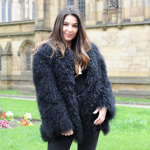 DMGA111 Black Mongolian Lamb Fur Lady Coat