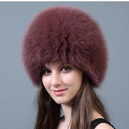 DMC215K  Knit Finn Black  Fox Fur Hat