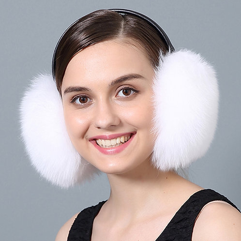 DAMA73F White Fox Fur Earmuffs With Leather Band