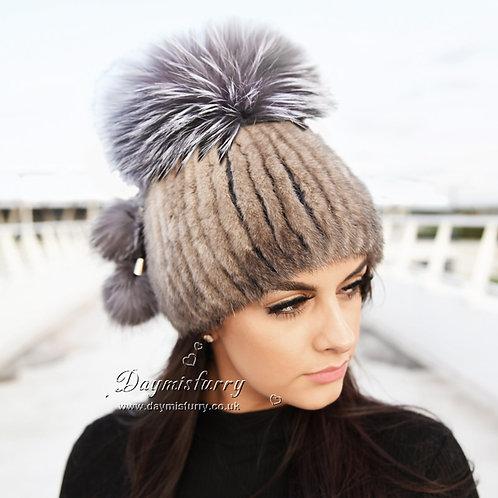 DMC56A Mink Fur Hat With Silver Fox Large Pom Pom