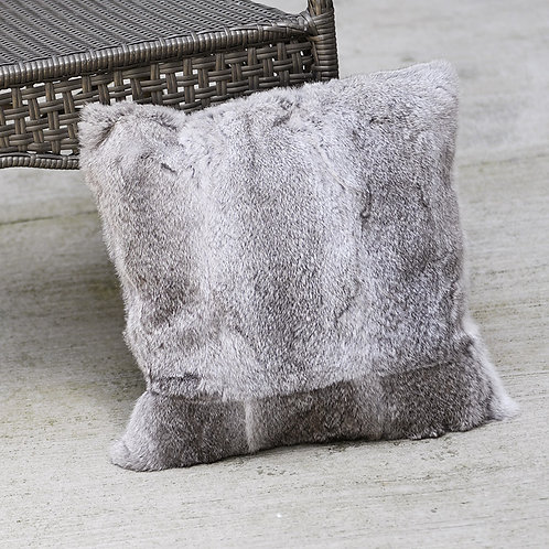 DMD05A Full Pelt Rabbit Fur Pillow Cover  -Natural Grey