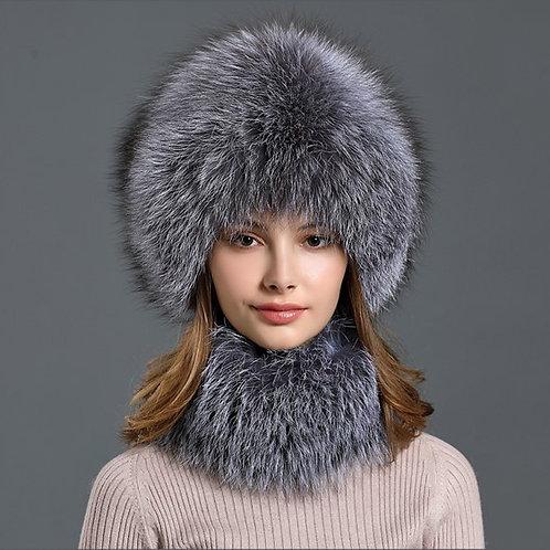 DMC01F Silver Fox Fur Beanie Scarves for Women set