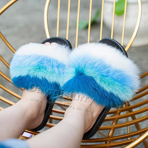 Colorful Fox Fur Slides, Real Fur Slipper