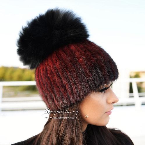 DMC16G Mink Fur Beanie Hat With Black Fox Pom Pom