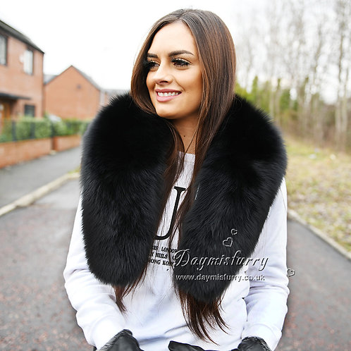 DMB06B Large Detachable Black Fox Fur Collar